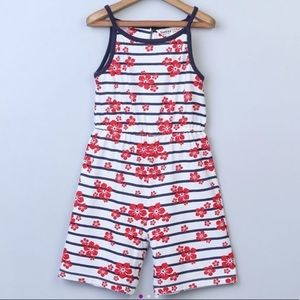 Girls red floral w/ blue stripe print jumpsuit